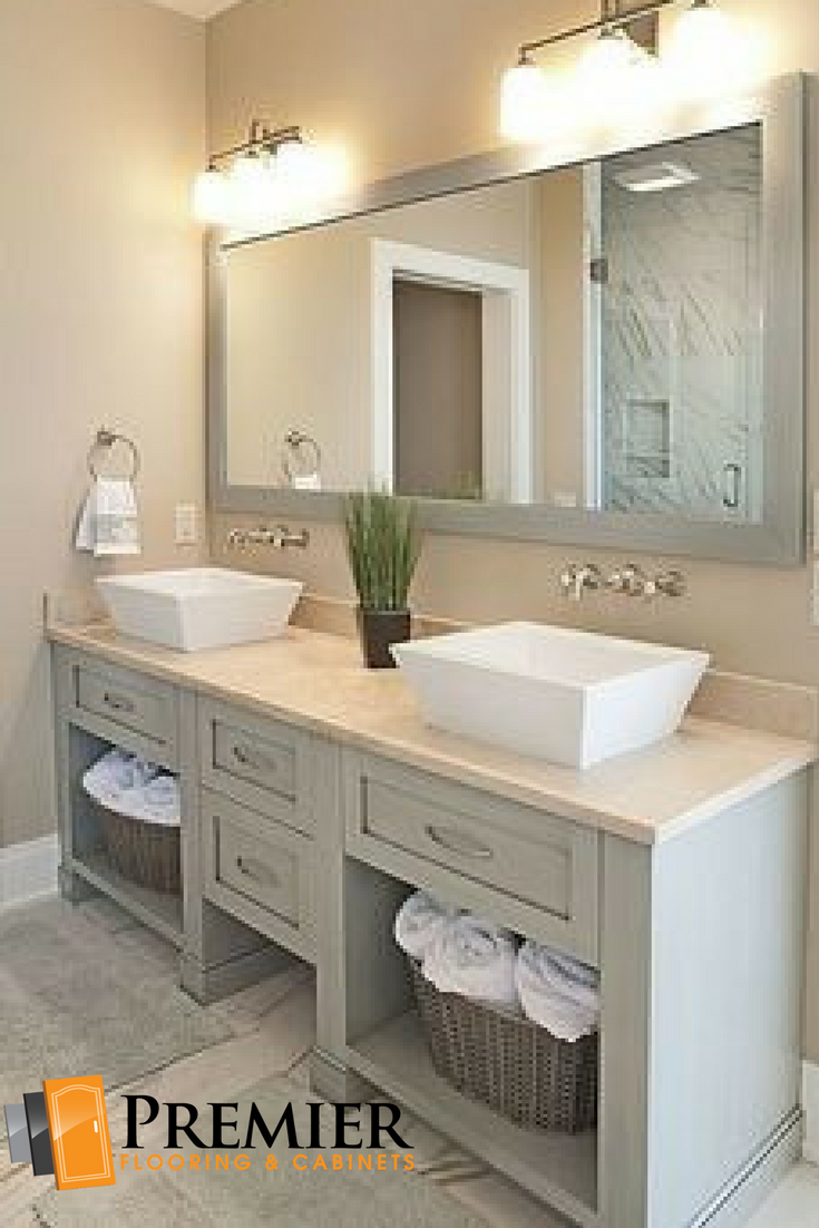 Bon #Double #sink #vanity With Ample Space Underneath Opens Up A Small  #bathroom. A Large #mirror Above Makes The Small Space Feel Larger.