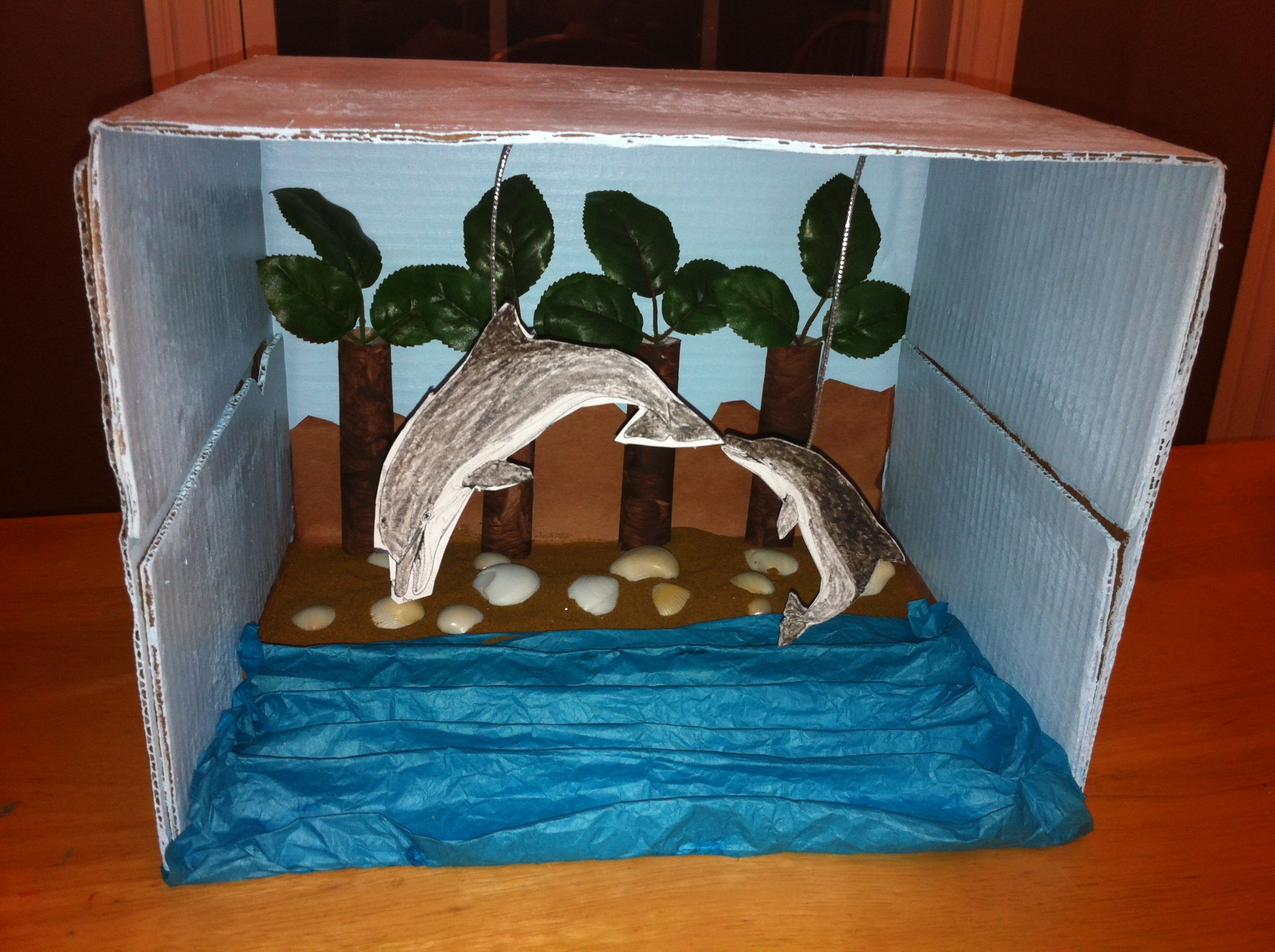 Kids Diorama With Details: Animal Habitat Diorama Idea. First School Project Of The