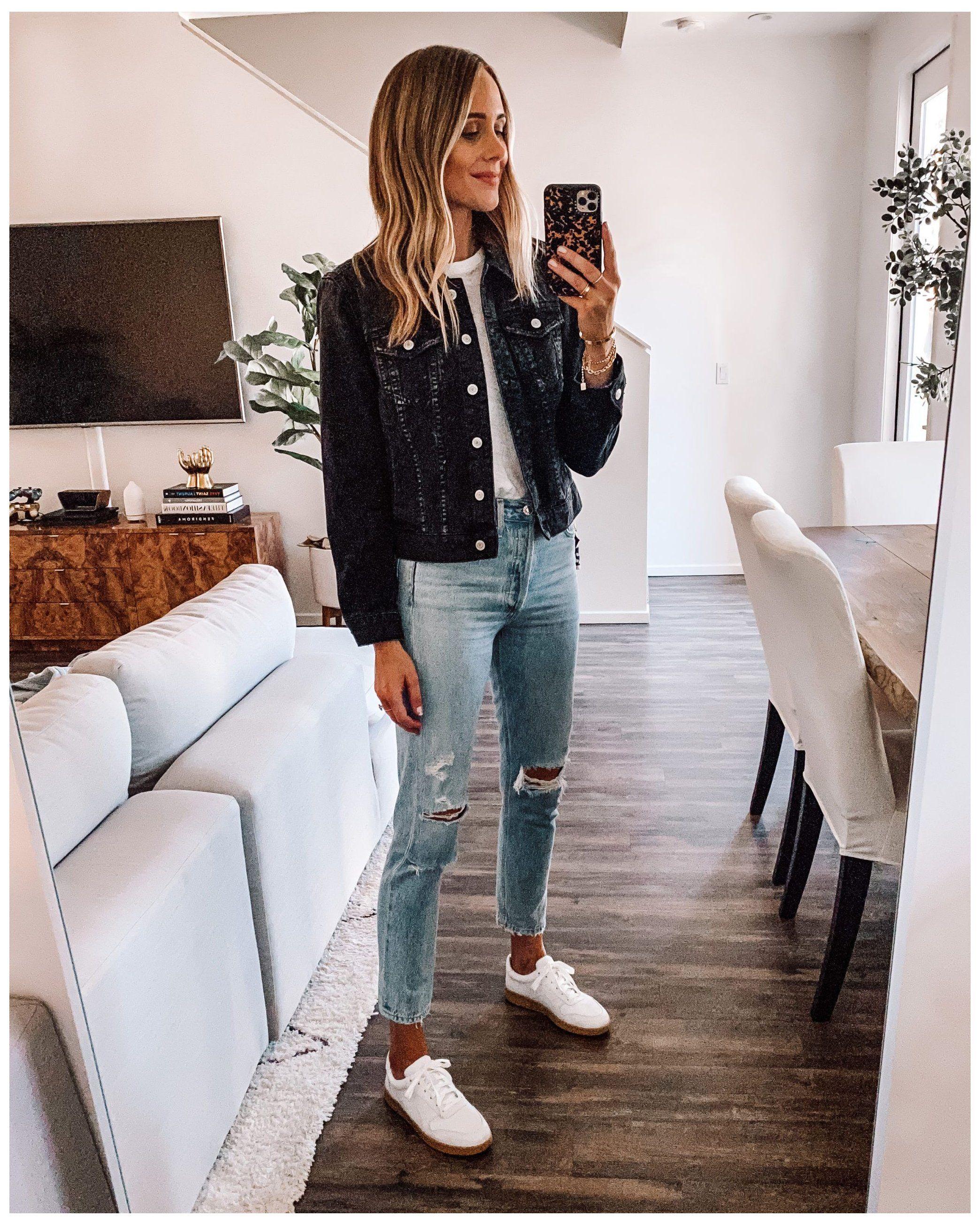 Denim Jacket Guide My Favorite Jean Jacket Styles Outfits With Black Jean Jacket A In 2021 Black Denim Jacket Outfit Denim Jacket Outfit Fall Black Denim Jacket [ 2610 x 2088 Pixel ]