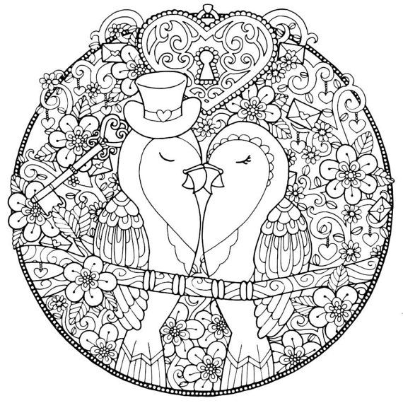 ADULT COLORING PAGE Mr and Mrs Love Birds Download Bundle | Feliz ...