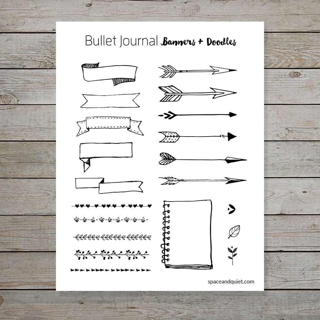 Free Bullet Journal Printable Banners And Doodles