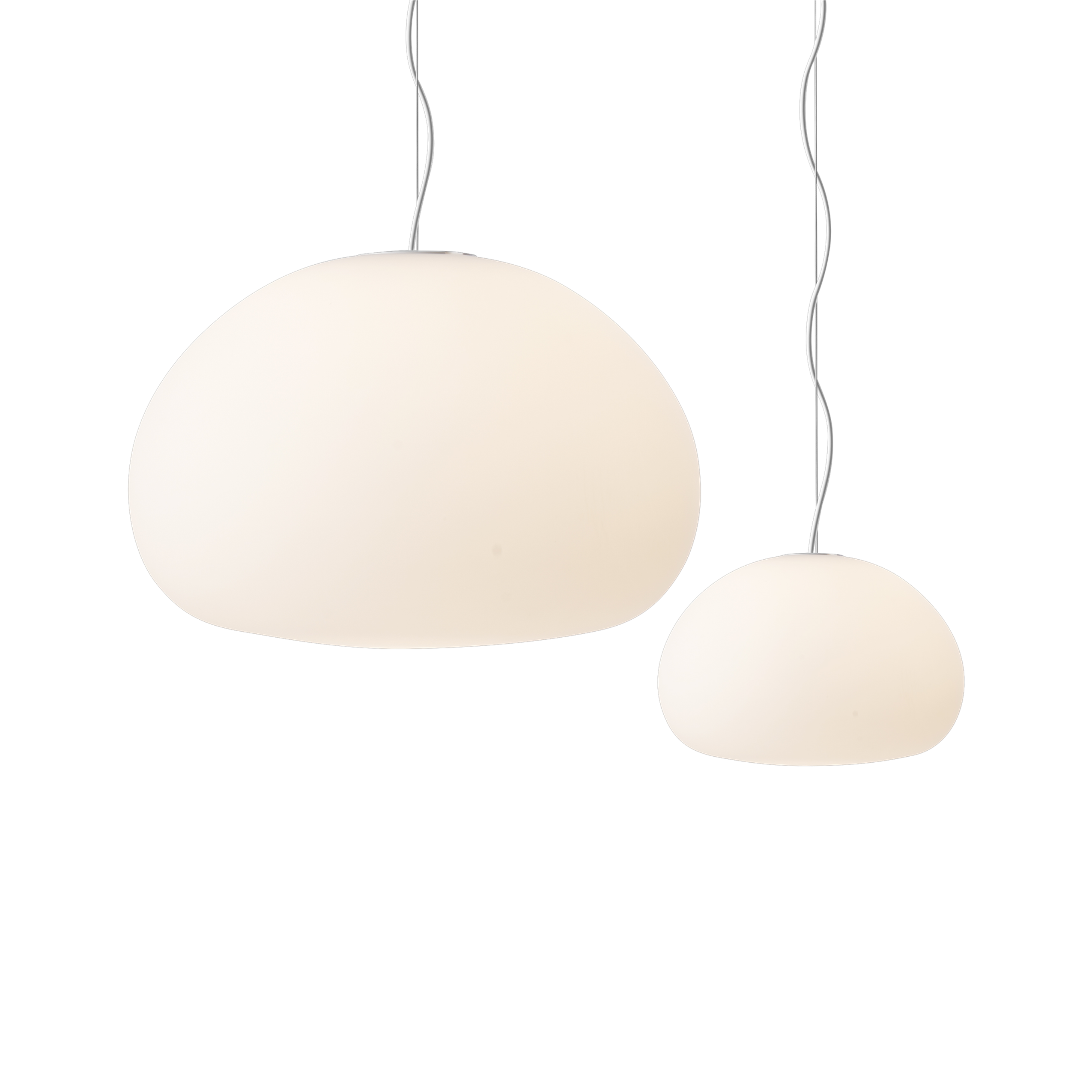 The frosted matte surface of the fluid pendant lamp creates a