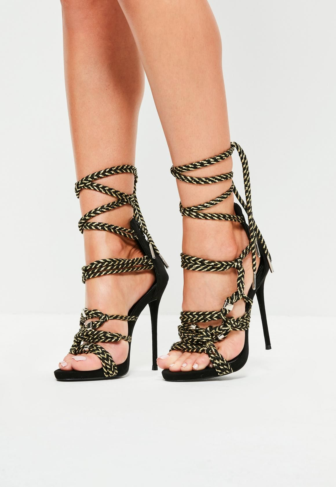 d9537b64cf7 Missguided - Black Rope Detail Heeled Sandals