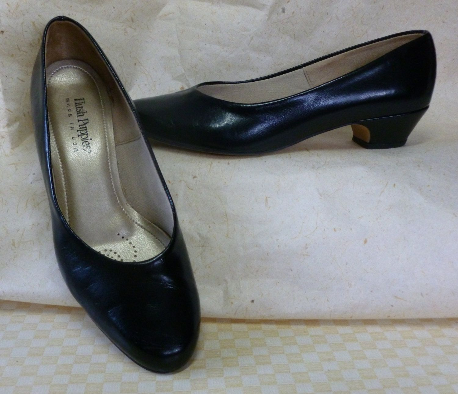 Vintage Size 9 M Black Pump Dress Shoe By Hush Puppies Made In Usa Black Pumps Me Too Shoes Pump Dress