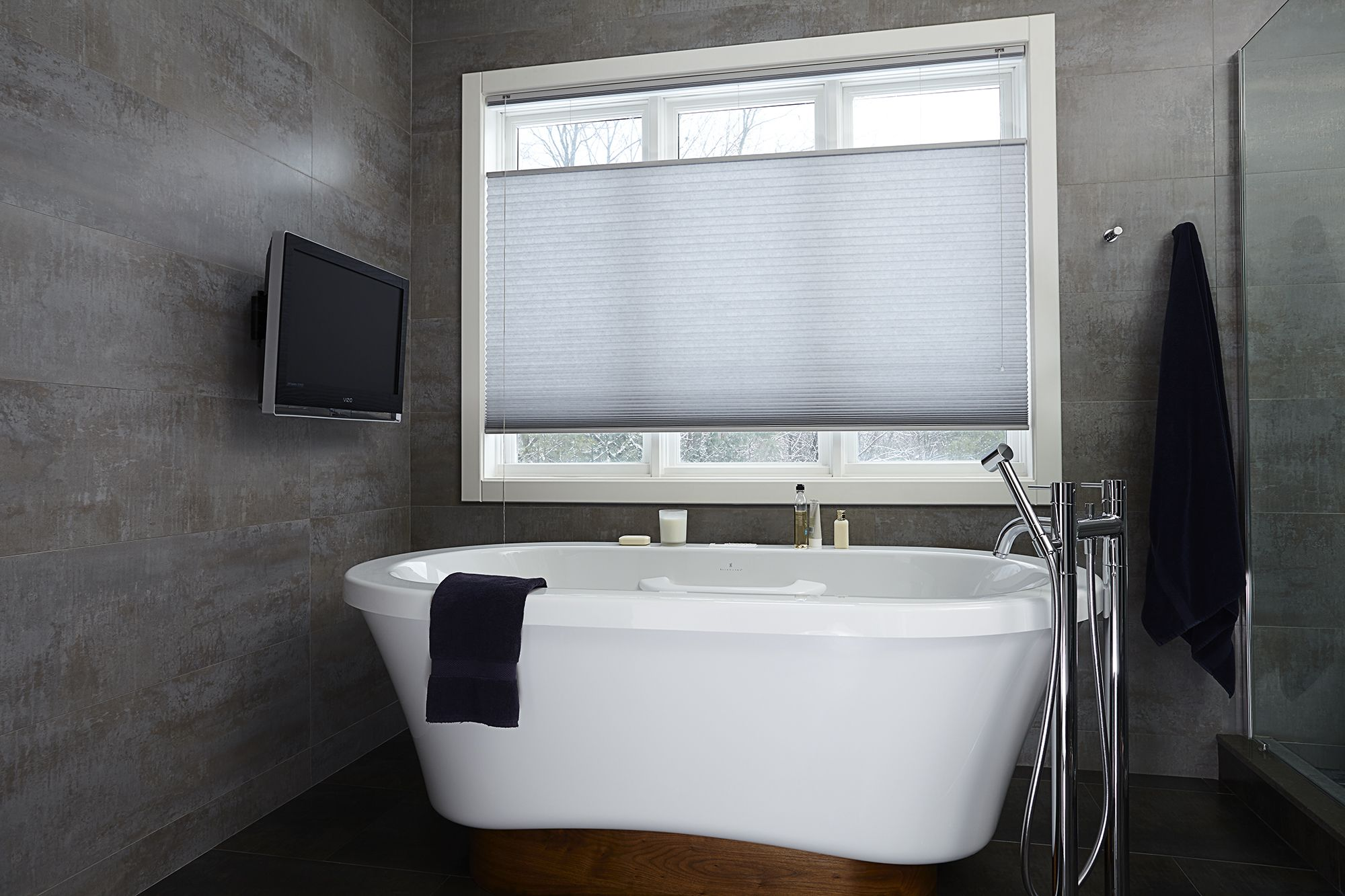 Available in both light filtering and blackout, Cellular Shades are the perfect solution for any decor.   #cellularshades #WindowTreatment #Blindstogo #Cellular #Decor #Bathroom