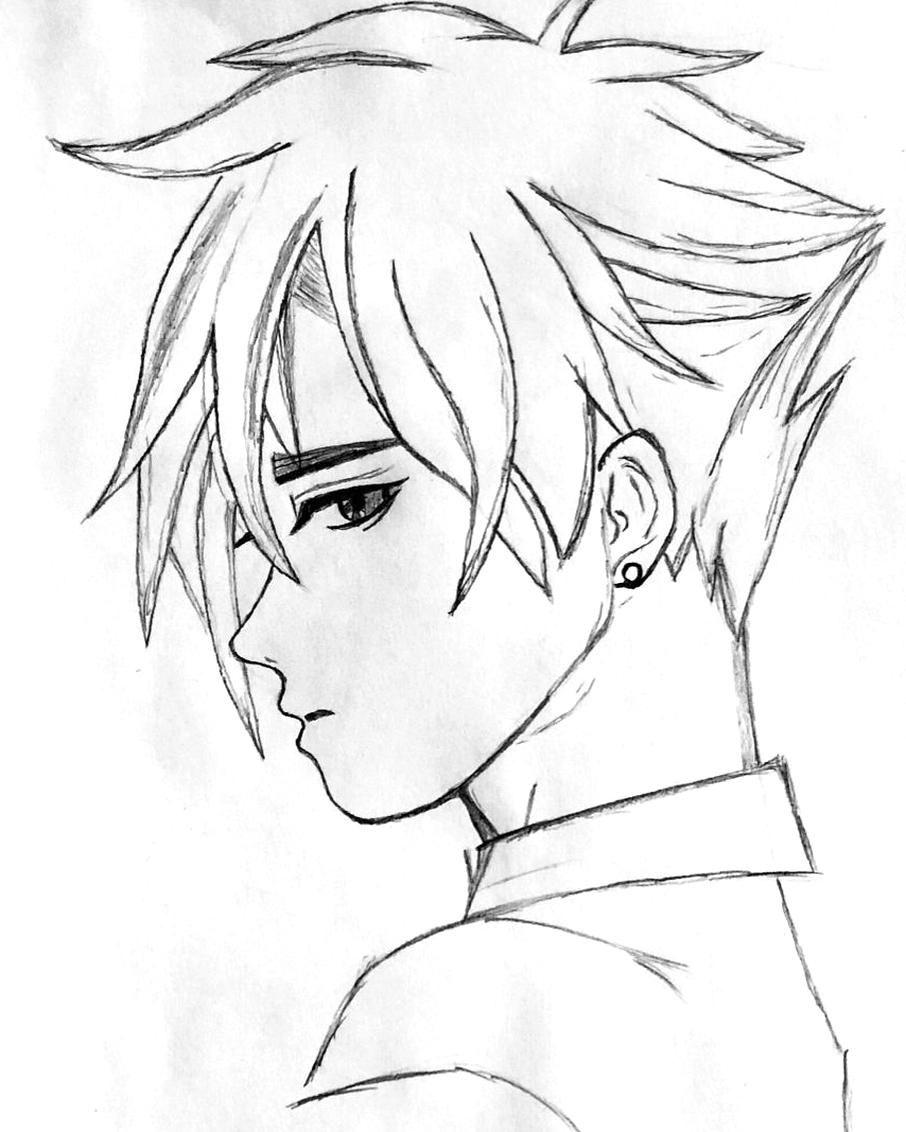 Anime Manga Sketch Drawing Boy Girl Men Man Easy Tutorial In Steps Beginner Simple Avatar In 2020 Art Drawings Sketches Simple Cute Boy Drawing Girl Drawing Sketches