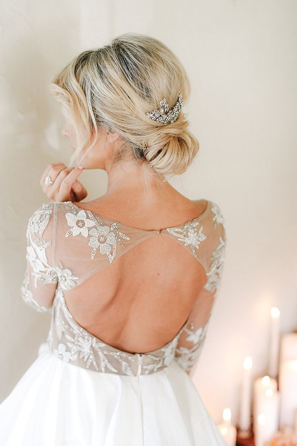 Low Bridal Updo With A Crystal Comb Bridal Hair Updo Low Bridal