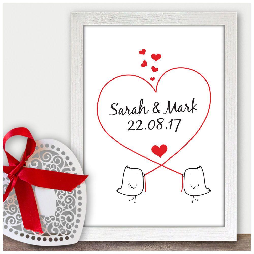 Love Birds Personalised 1st Wedding Anniversary Gift Ideas For Him Her Husband W 1st Wedding Anniversary Gift Wedding Anniversary Gifts 1st Wedding Anniversary