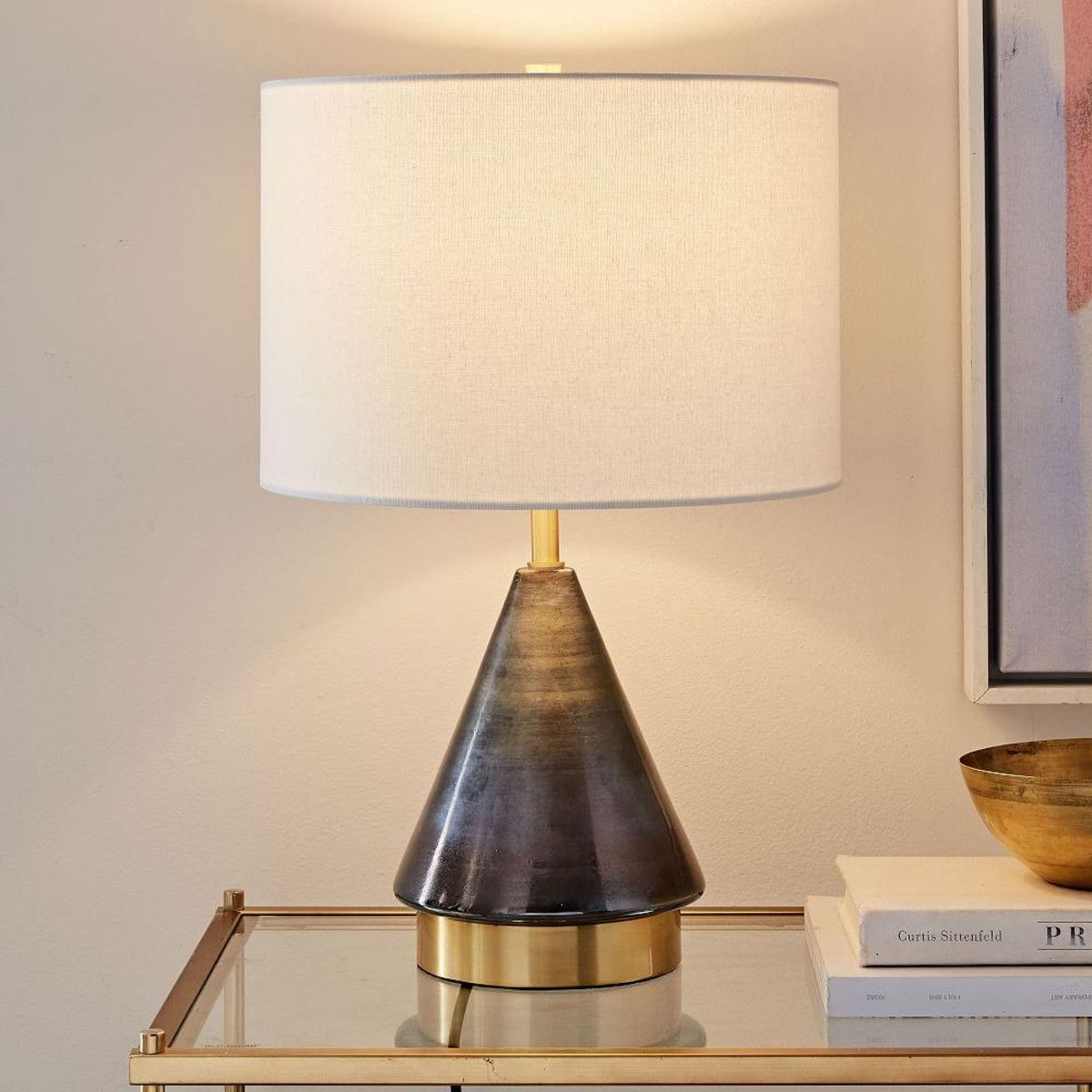 Metalized Glass Table Lamp Usb Small Grey West Elm Uk Glass Table Lamp Modern Table Lamp Table Lamp