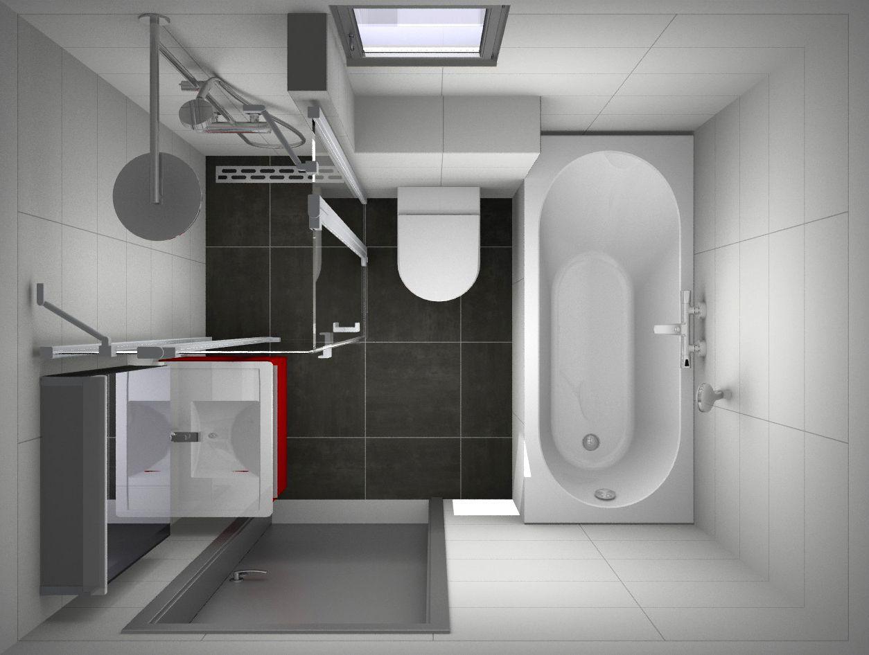 Betaalbare en zeer complete kleine badkamer met ligbad, douche ...