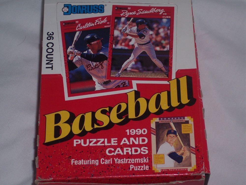1990 donruss 36 pack box 3 ea puzzle pieces 16 ea