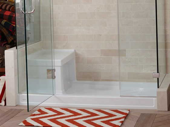 Pre Fab Shower Receptor With Tile And Glass Suround Kohler
