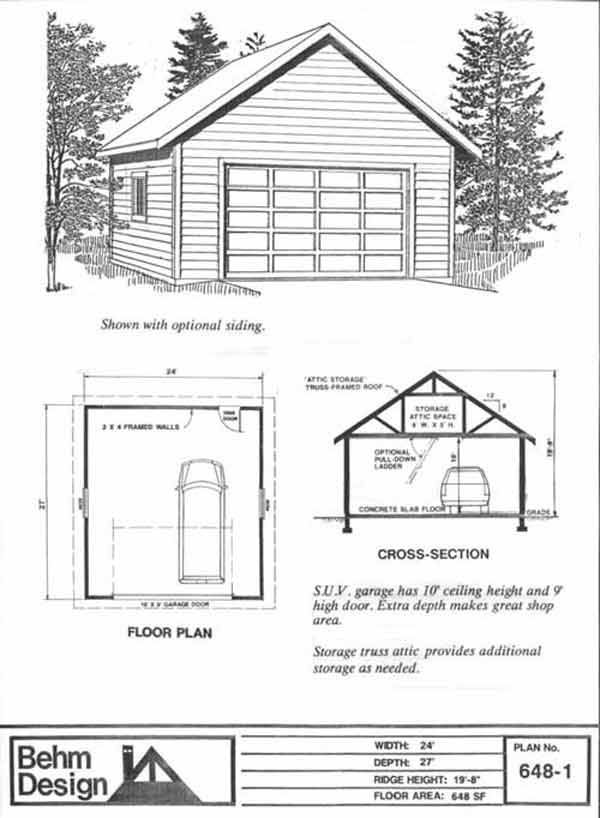 2 Car Garage Plan 648-1 With 10 ft. High Walls And Attic