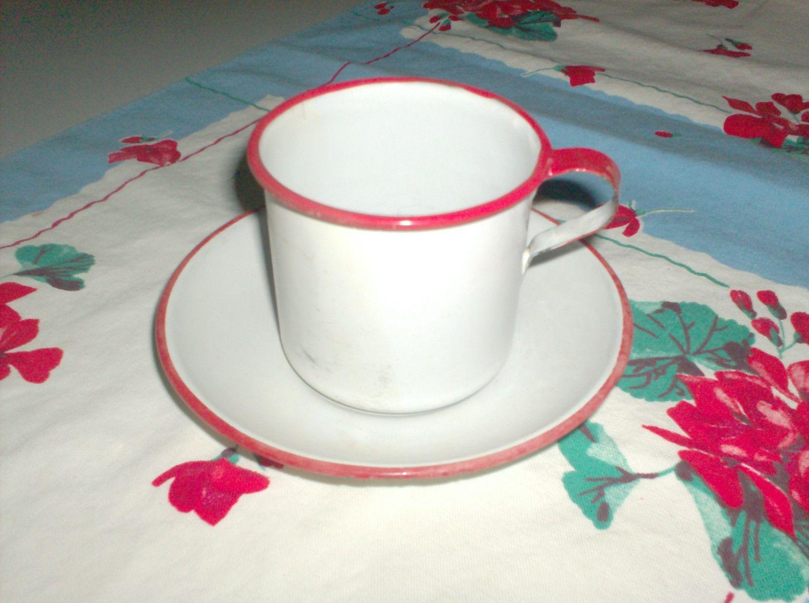 Vintage Enamelware Mug and Saucer - Red Trim |