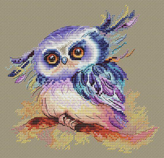 Owl Cross Stitch Pattern PDF Instant Download Bird Cross Stitch Cute ...