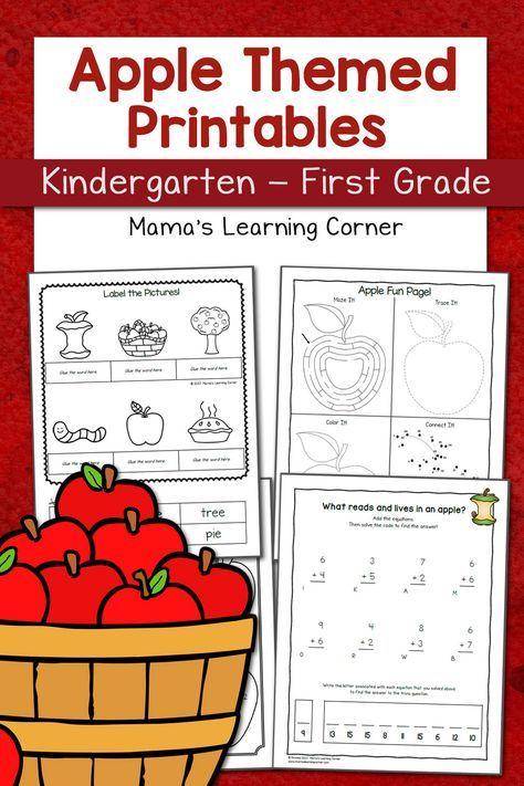 Apple Worksheets For Kindergarten First Grade Kindergarten Worksheets Kindergarten Worksheets Printable Kindergarten Apple Worksheets Apple worksheets first grade