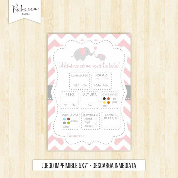Baby shower spanish game in spanish guessing game in spanish baby shower rosa español juegos baby shower printable espanol pink girl 105