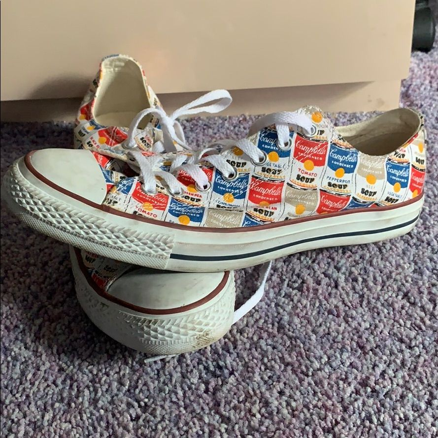 Converse Shoes   Andy Warhol Soup Converse   Color: Red/White   Size: 10 #andywarhol