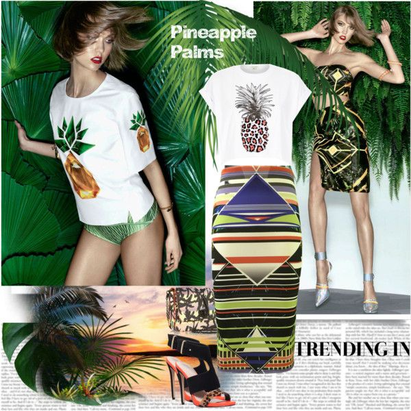 Pineapple Palms Trending In by stylepersonal on Polyvore featuring polyvore, fashion, style, River Island, Carvela, Kenzo, pineapple, palms and summer2015