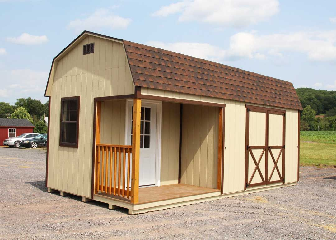 Hi-Side Barn with Porch Storage Shed