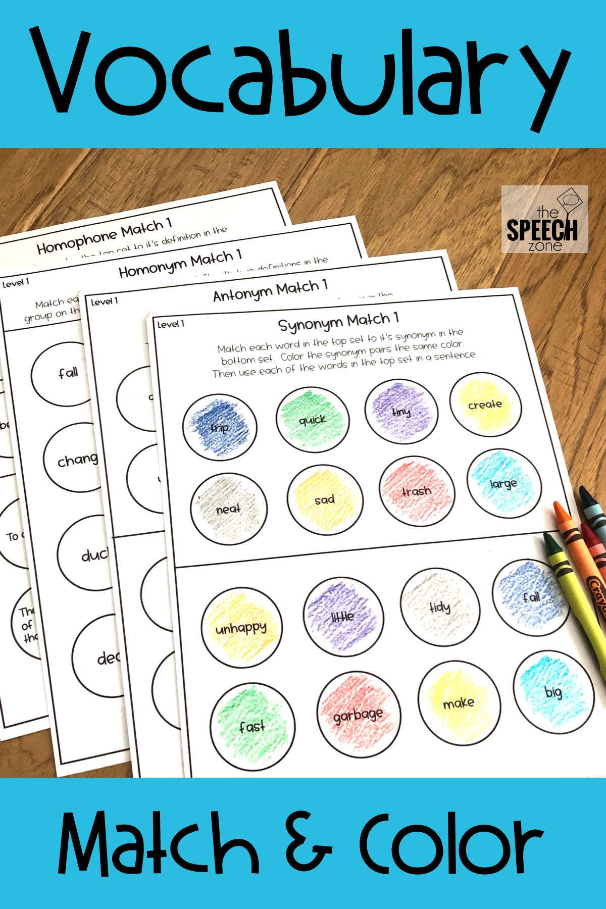 Vocabulary Match Amp Color