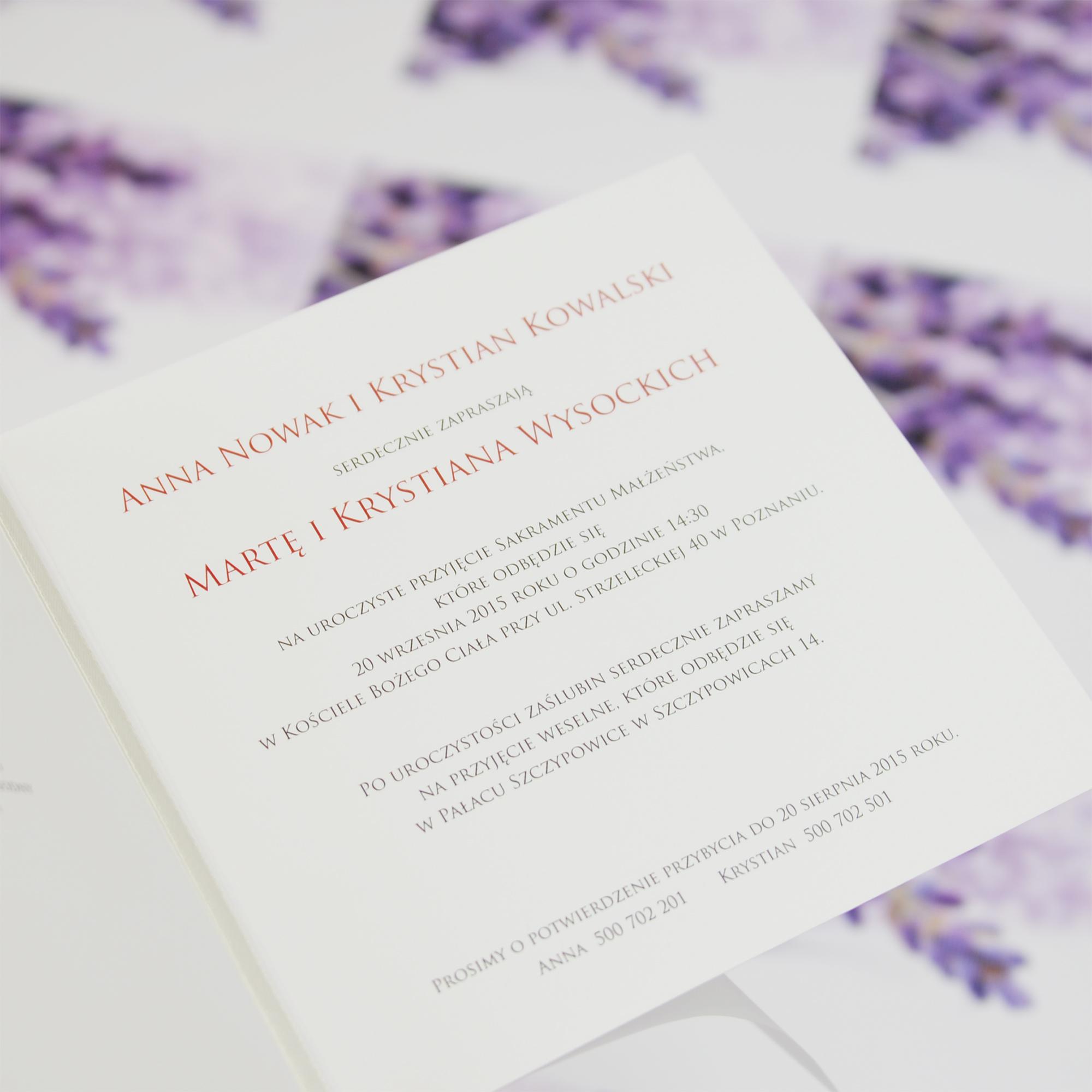 Wedding invitations Wenus 1 Eleganckie lawendowe zaproszenie ślubne.
