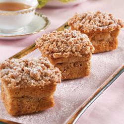 Apple-Banana Cakes from September/October 2010 TeaTime Magazine  These individual cakes contain mashed ripe bananas, a layer of sliced apples, and a streusel stopping. Full recipe