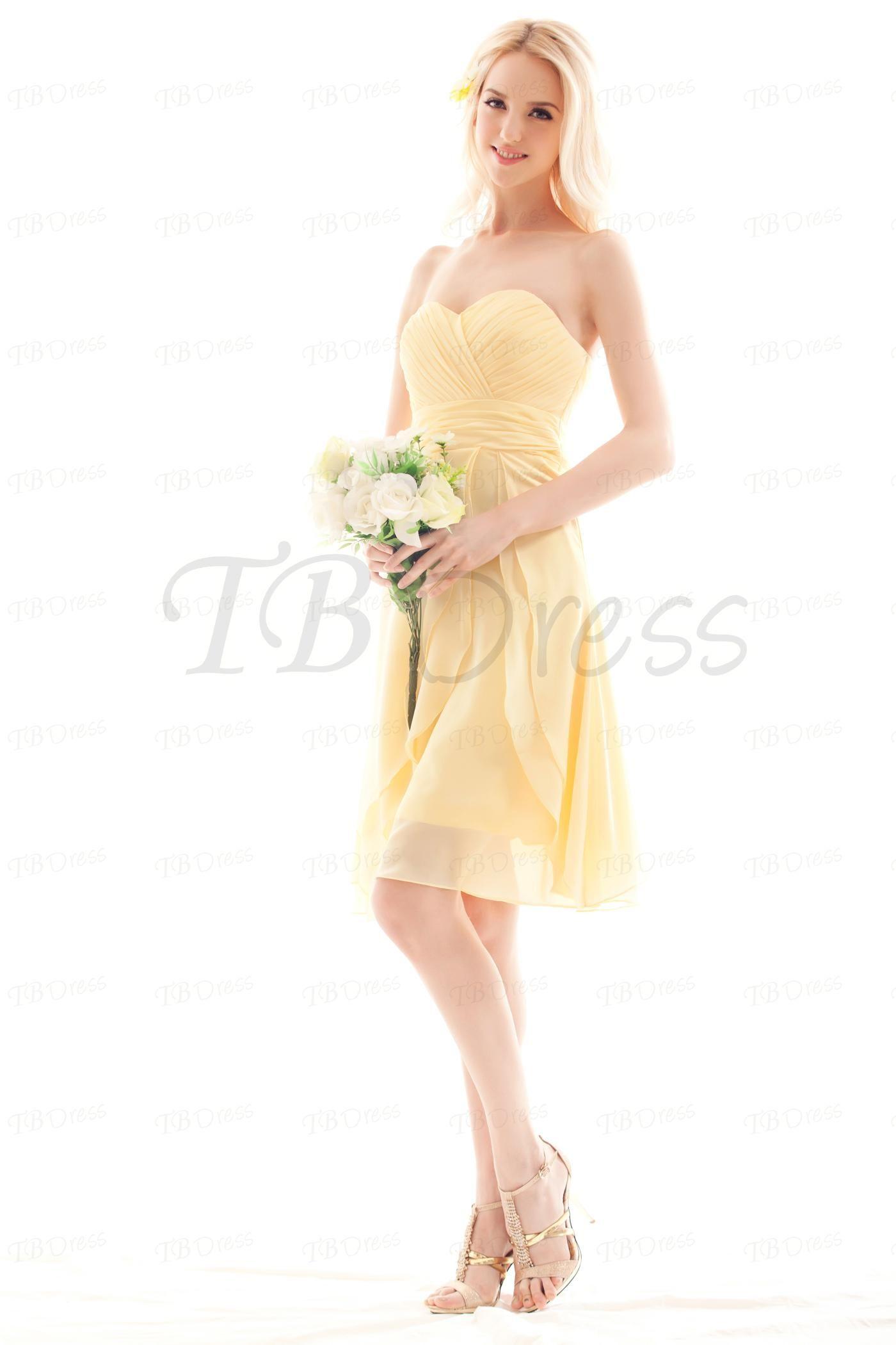 Yellow dress knee length  Aline Sweetheart Pleats Short Bridesmaid Dress  Sweet Products