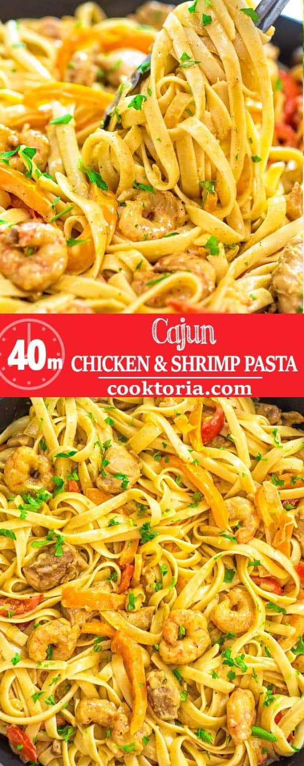 This delicious Cajun Chicken and Shrimp Pasta makes an easy, quick and filling dinner for the whole family. The smoky Cajun spice and the creamy Parmesan sauce create an unforgettable combination! #shrimp #chicken #pasta #dinner #Italian #recipeoftheday #seafood