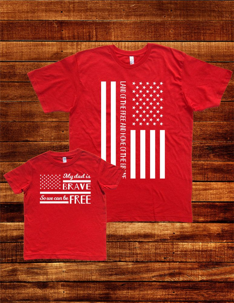 485d25a31 Military Family Matching T Shirts My Dad is Brave - USA Flag Army Navy Air  Force