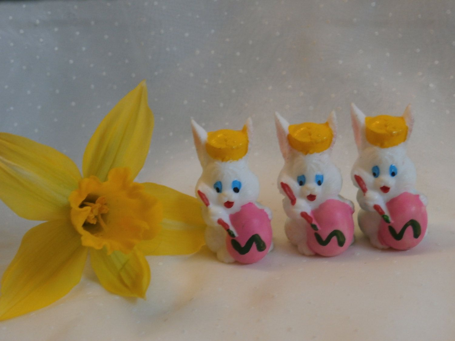 Easter Bunny Painting Egg Figurines for Crafting, Collecting Miniature Supply