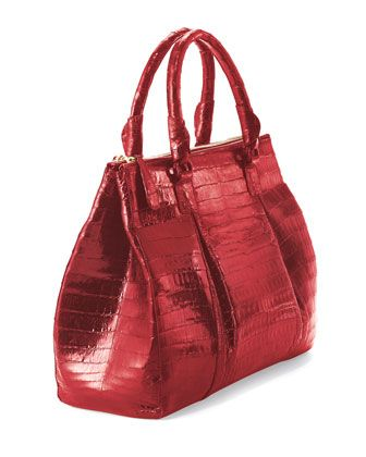 Nancy Gonzalez Plisse Large Crocodile Tote Bag, Red (Made to Order) - Neiman Marcus