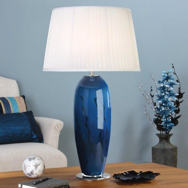 Interiors 1900 Ryba Single Light Blue Marbled Table Lamp Complete With White Pleated Shade