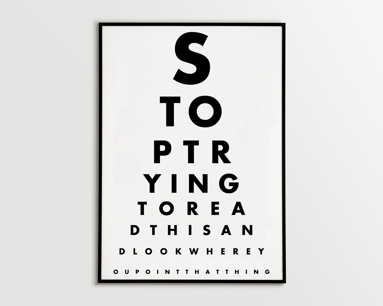 Funny Eye Chart Printable Bathroom Eyetest Poster Typography Art Print Typography Poster Modern Home Wa Eye Chart Printable Eye Chart Bathroom Printables