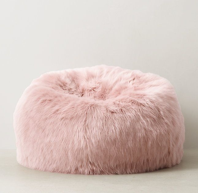 Kashmir Faux Fur Bean Bag Dusty Rose