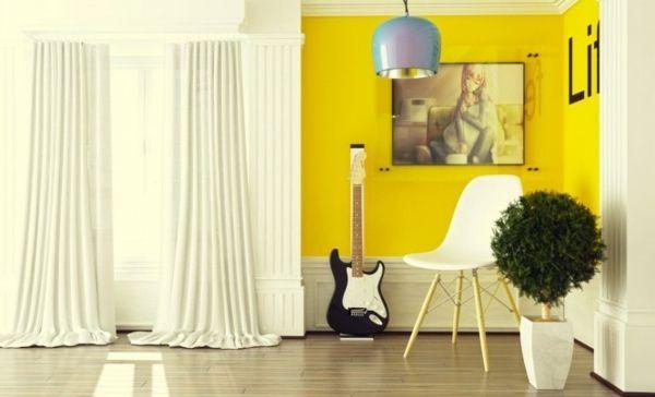 Gelbe Wand Elegante Weiße Gardinen Wohnzimmer Farbe