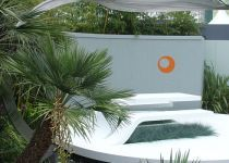 Chelsea Flower Show, Corian waterfall, inlaid wall, walkways, pools & benches