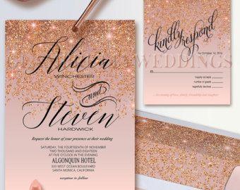 Glamorous PRINTABLE WEDDING INVITATION RSVP CARD has a sparkling