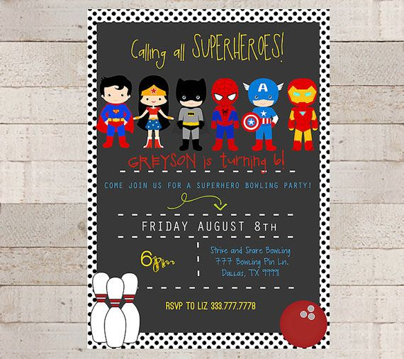 Superhero Bowling Birthday Party Invitations Custom Printable