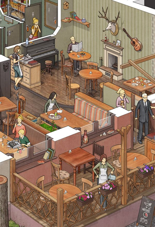DeLorean Cafe by Max Degtyarev, via Behance (Visual narrative taken to the umpteenth degree. Imagine what all of those people are thinking. Imagine the course each object took to arrive at the location; the skill and craftsmanship and work that was required to design, build, and place of the the imagined items, etc)