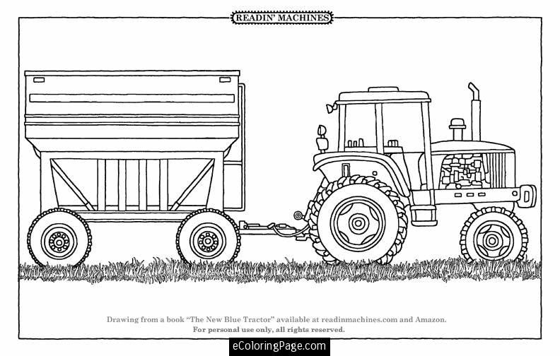 tractor-and-trailer-printable-coloring-page | Farm coloring ...
