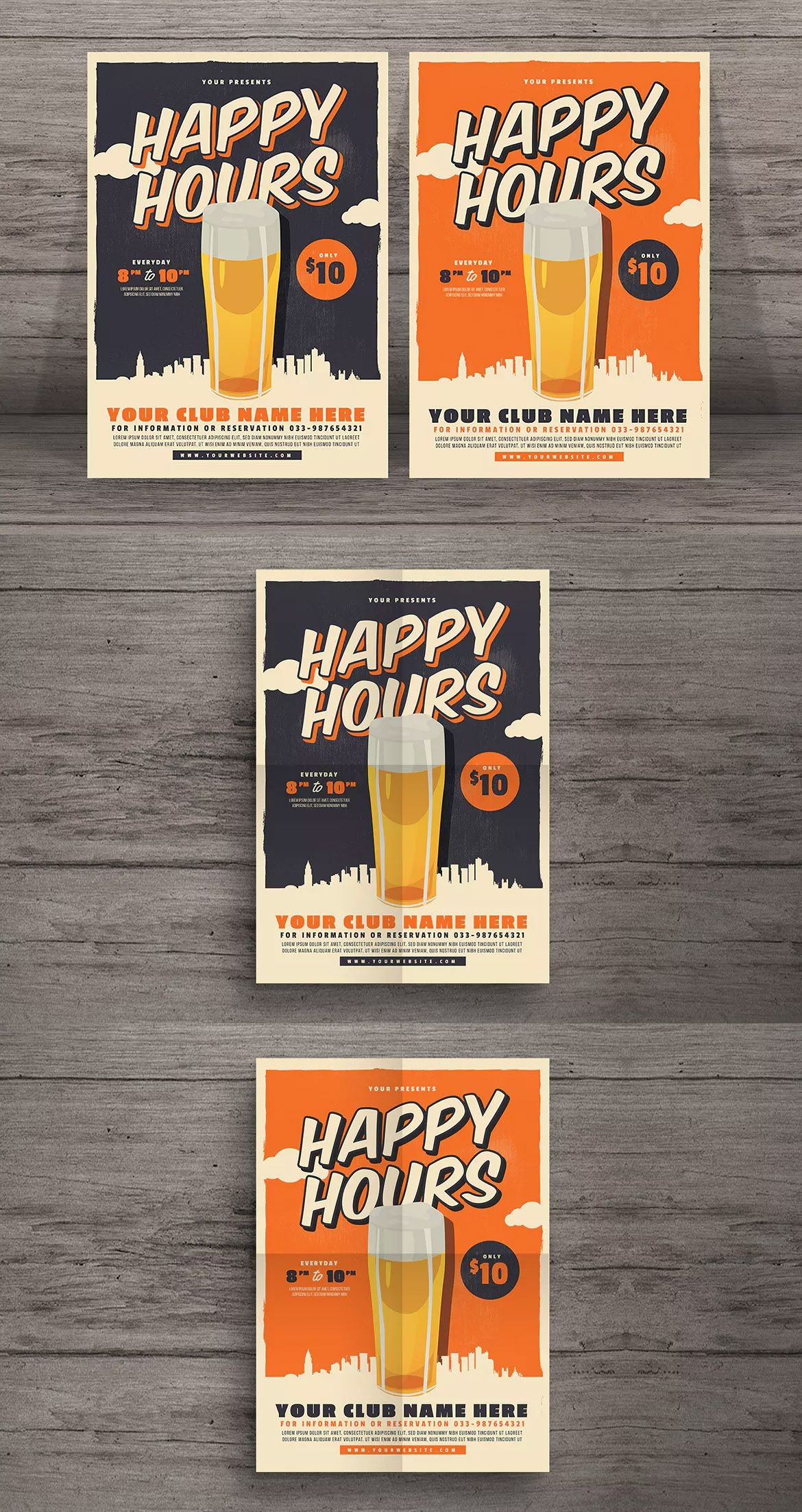 Retro Happy Hour Beer Festival Flyer Template AI, PSD - A4 | Flyer