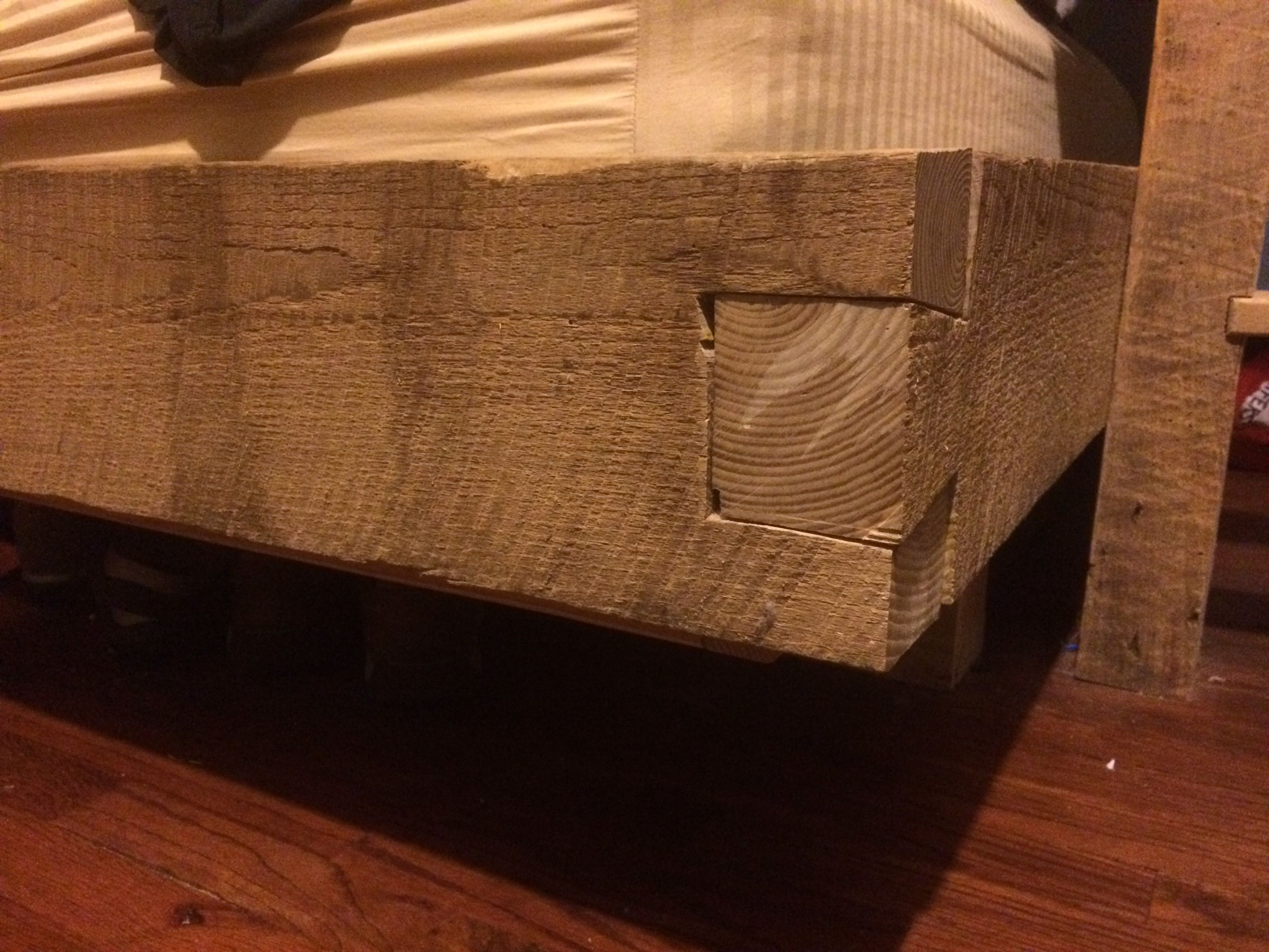 Large Dovetail Joint On Built In Barn Timber Queen Bed Frame