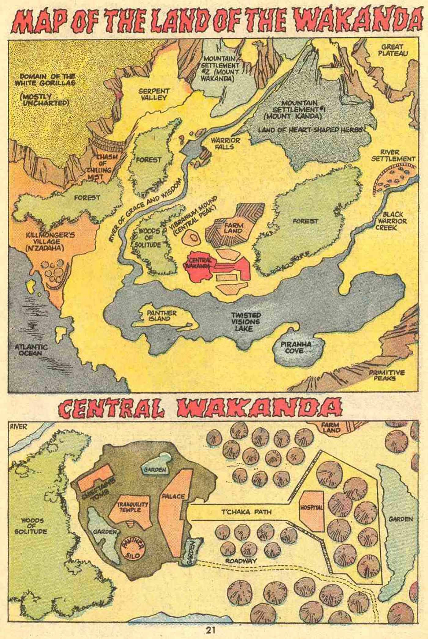 Map of Wakanda, fictional Africa country in the Marvel
