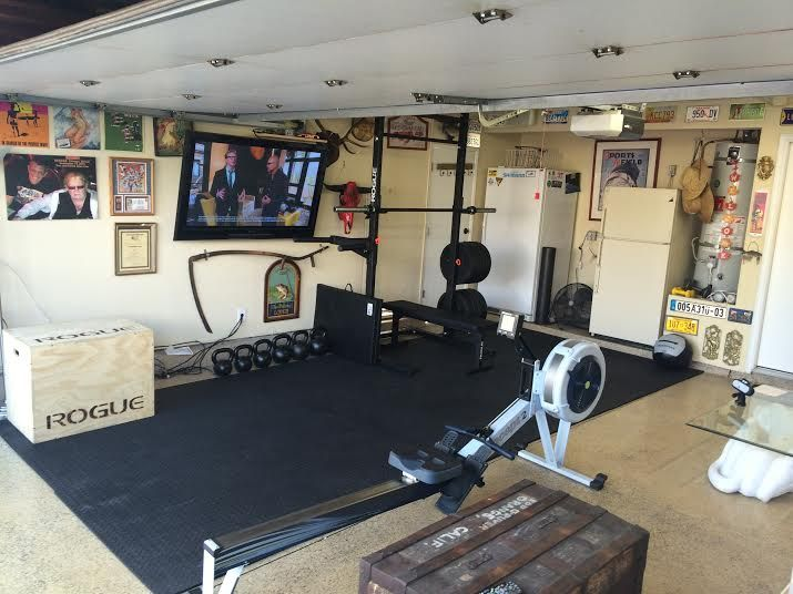 Check out the big screen in this garage gym strength