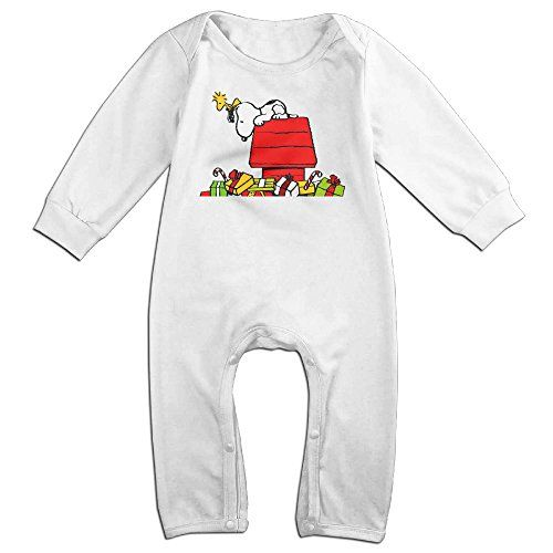 Cotton Baby Long Sleeve Onesies Toddler Bodysuit White Christmas Snoopy Jumpsuits * See this great product.