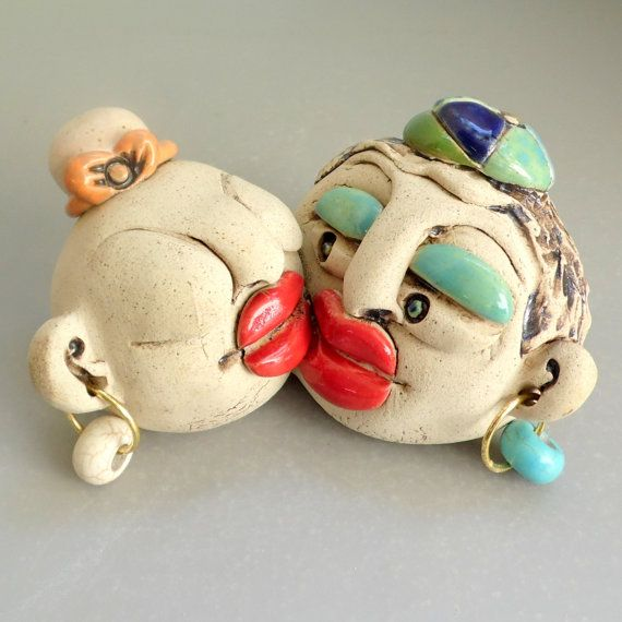 Ceramic Wedding Gift , Man And Woman Kissing Sculpture