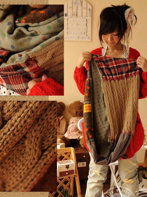 f76f063144a cotton knitted patchwork scarf neat for scraps and old sweaters. I so could  do this on rainy days!