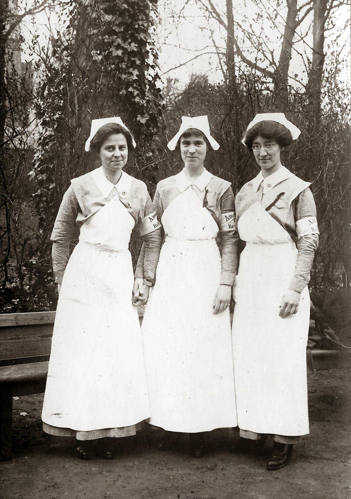 American nurses in France during WWI. Vintage nurse