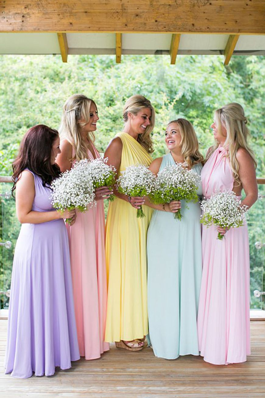 Wedding Ideas By Colour Pastel Bridesmaid Dresses In The Mix Chwv Pastel Wedding Theme Pastel Bridesmaid Dresses Pastel Bridesmaids